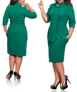 Платье-миди под горло с рукавом 3/4 цвет: ЗЕЛЕНЫЙ