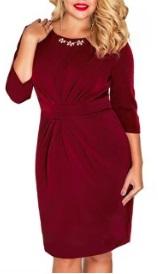 Платье-миди с рукавом 3/4 цвет: БОРДО