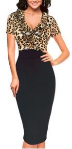 Облегающее платье-миди с коротким рукавом цвет: ЛЕОПАРД + ЧЕРНЫЙ
