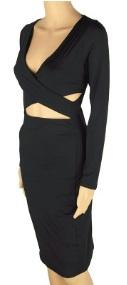 Обтягивающее платье с глубоким декольте и открытым животом длинный рукав цвет: ЧЕРНЫЙ