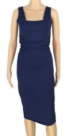 Обтягивающее платье без рукавов средней длины цвет: ТЕМНО-СИНИЙ