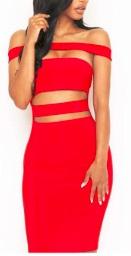 Обтягивающее платье-бандо с открытым животом цвет: КРАСНЫЙ