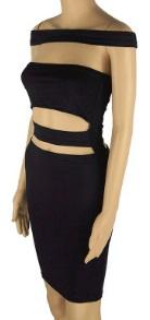 Обтягивающее платье-бандо с открытым животом цвет: ЧЕРНЫЙ