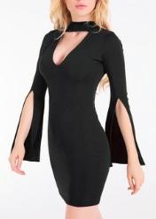 Обтягивающее мини-платье с разрезами на рукавах цвет: ЧЕРНЫЙ