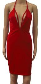 Обтягивающее платье с глубоким декольте без рукавов цвет: КРАСНЫЙ