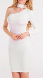 Обтягивающее платье с одним рукавов цвет: БЕЛЫЙ