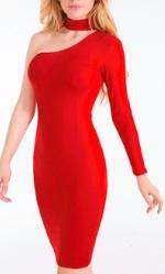 Обтягивающее платье с одним рукавов цвет: КРАСНЫЙ
