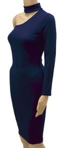 Обтягивающее платье с одним рукавов цвет: ТЕМНО-СИНИЙ