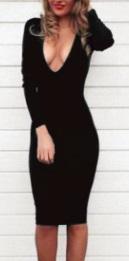 Обтягивающее платье с глубоким декольте длинный рукав цвет: ЧЕРНЫЙ