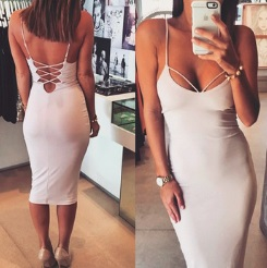 Обтягивающее платье с глубоким декольте и открытой спиной цвет: БЕЛЫЙ