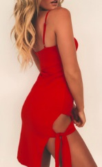 Клубное платье на бретелях с боковым разрезом цвет: КРАСНЫЙ