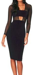 Обтягивающее платье с длинным рукавом цвет: ЧЕРНЫЙ