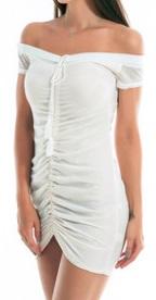 Мини платье с открытыми плечами цвет: БЕЛЫЙ