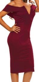 Платье-футляр с глубоким декольте цвет: БОРДО