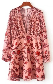 Платье с глубоким декольте длинный рукав цвет: НА ФОТО
