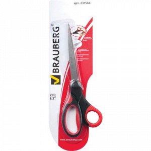 """Ножницы BRAUBERG """"Energy"""", 210 мм, прорезин.ручки, красно-че"""
