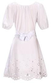 Платье средней длины с перфорацией короткий рукав цвет: БЕЛЫЙ
