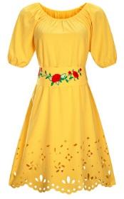 Платье средней длины с перфорацией короткий рукав цвет: ЖЕЛТЫЙ