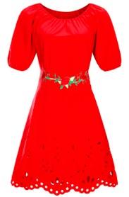 Платье средней длины с перфорацией короткий рукав цвет: КРАСНЫЙ