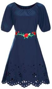 Платье средней длины с перфорацией короткий рукав цвет: ТЕМНО-СИНИЙ