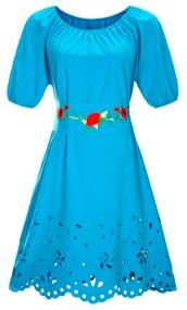Платье средней длины с перфорацией короткий рукав цвет: СИНИЙ
