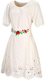 Платье средней длины с перфорацией короткий рукав цвет: БЕЖЕВЫЙ