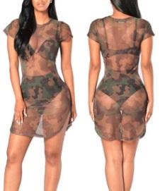 Прозрачное платье-сетка с коротким рукавом цвет: КАМУФЛЯЖ
