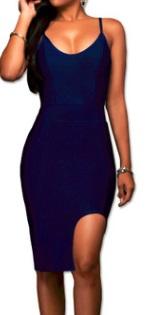 Облегающее платье-миди на бретелях с разрезом спереди цвет: ТЕМНО-СИНИЙ