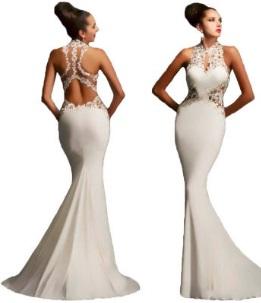 Вечернее платье в пол без рукавов с открытой спиной цвет: БЕЛЫЙ