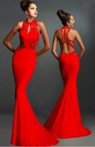 Вечернее платье в пол без рукавов с открытой спиной цвет: КРАСНЫЙ