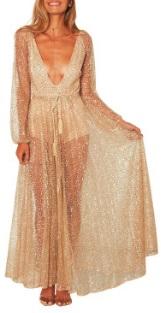 Платье в пол с глубоким декольте длинный рукав цвет: ЗОЛОТО