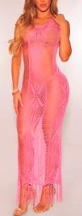 Откровенное платье в пол без рукавов цвет: РОЗОВЫЙ