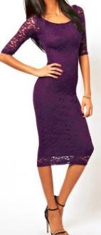 Обтягивающее платье-миди рукав 3/4 цвет: ФИОЛЕТОВЫЙ