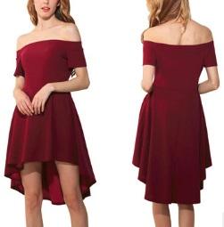 Асимметричное платье открытые плечи короткий рукав цвет: БОРДО