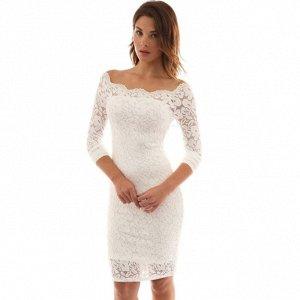 Платье короткое кружевное с длинными рукавами цвет: БЕЛЫЙ