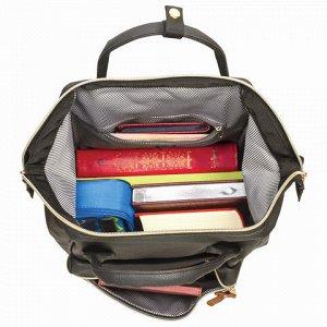 Рюкзак BRAUBERG молодежный, Блэк, искуств. кожа черный, 34х2
