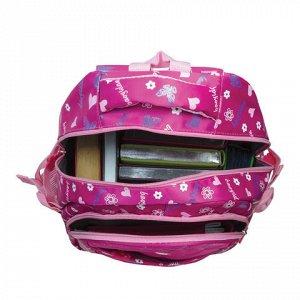 Рюкзак BRAUBERG молодежный, Сердечки, нейлон, красный, 31х12