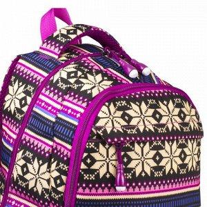 Рюкзак BRAUBERG молодежный, Фиолетовые узоры, канвас, 47х32х