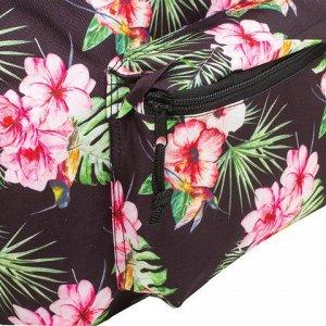 Рюкзак BRAUBERG универсальный, сити-формат, черный, Цветы, 2