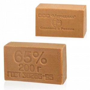Мыло хозяйственное 65%, 200г (Меридиан), без упаковки, ш/к т