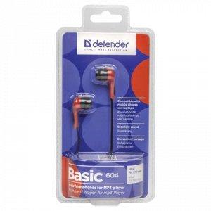 Наушники DEFENDER Basic 604, проводные, 1,2 м, вкладыши, чер