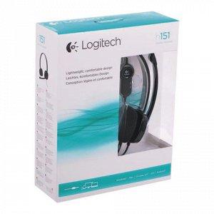 Наушники с микрофоном (гарнитура) LOGITECH H151, проводные,