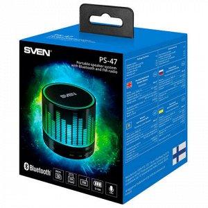 Колонка портативная с подсветкой SVEN PS-47, 1.0, 3 Вт, Blue