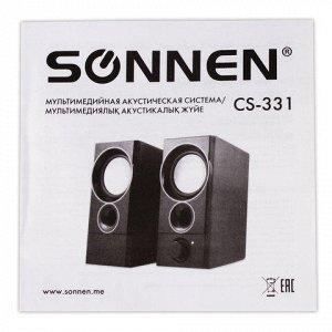 Колонки компьютерные SONNEN CS-331, 2.0,пластик, 2*3W, питан