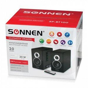 Колонки компьютерные bluetooth SONNEN SP-BT100, 2.0, 2*15W,