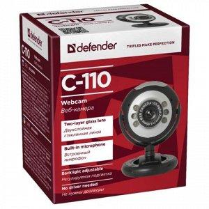 Веб-камера DEFENDER C-110, 0.3Мп,микрофон,USB 2.0/1.1+3.5мм