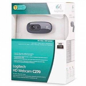 Веб-камера LOGITECH C270, 1/3Мпикс, микрофон, USB 2.0, черна