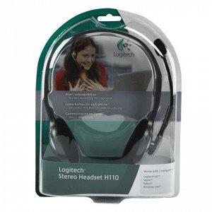 Наушники с микрофоном (гарнитура) LOGITECH H110, проводные,