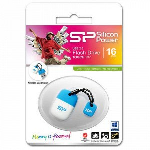 Флэш-диск 16GB SILICON POWER Touch T07 USB 2.0, белый/голубо