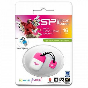 Флэш-диск 16GB SILICON POWER Touch T07 USB 2.0, белый/розовы